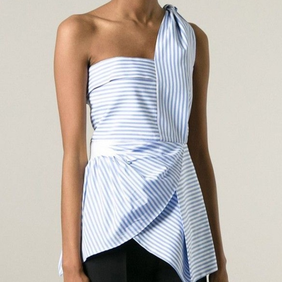 J.W. Anderson Tops - J.W. Anderson Blue Striped One Shoulder Top